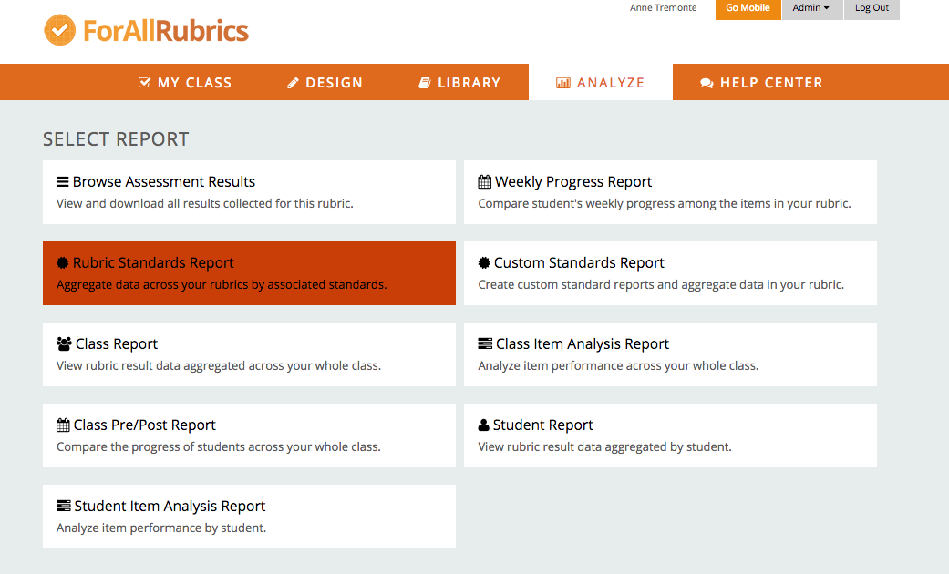ForAllRubrics provides lots of opportunities to analyze collected student data.